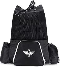 Elite Sports Black Mesh MMA, BJJ, Gear Gym Drawstring Backpack