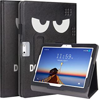 KuRoKo Folio Case Cover Compatiable with Dragon Touch K10 10.1, Victbing 10, WECOOL 10 Inch Tablet, ZONKO 10.1, Mirzebo Android Tablet 10 Inch, Yuntab K17, Kivors 10.1, LLLCCORP 10 (Big Eye)