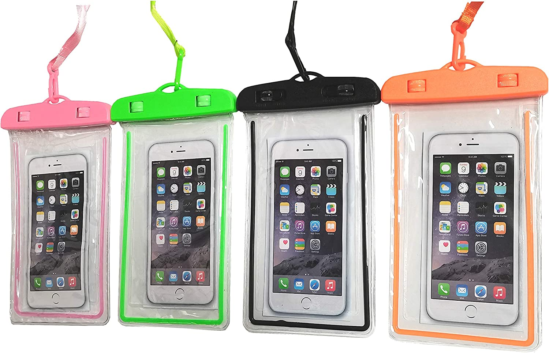 4 Packs Noctilucous Universal Waterproof Pouch Cellphone Dry Bag Underwater Case for Swimming, Boating, Fishing, Skiing, Rafting ,Beach Snorkeling etc (Black+Orange+Pink+Green)