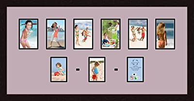 ArtToFrames 1.25-Inch Espresso Picture Frame with 4 Openings of 4 by 5-Inch and a Basil Top Mat and Black Bottom Mat