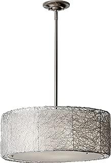 Feiss F2702/3BS Wired Fabric Shade Drum Pendant Lighting, Satin Nickel, 3-Light (20