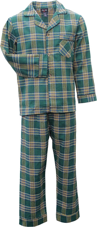 Foxfire Sleepwear 100% Cotton Plaid Flannel Long Sleeve Long Leg Set