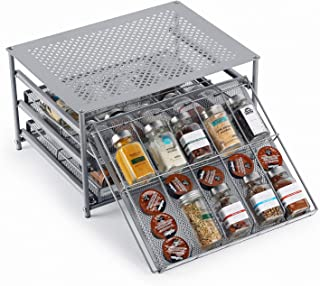 HEOMU Spice Rack Organizer for Cabinet, 3-Tier Metal Spice Organizers 30 Bottle Organizer with Universal Drawers for Kitchen Countertop