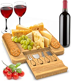 Cheese Board with Cutlery Set - Bamboo Cutting Wood Board - Great for your home - Gift Idea