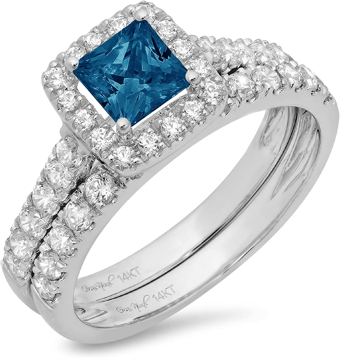 1.60ct Princess Cut Halo Pave Solitaire Accent Natural London Blue Topaz Engagement Promise Statement Anniversary Bridal Wedding Ring Band set Real Solid 14k White Gold