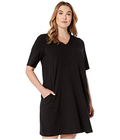 Eileen Fisher Plus Size Organic Cotton Stretch Jersey V-Neck 3/4 Sleeve A-Line Dress (Black) Women