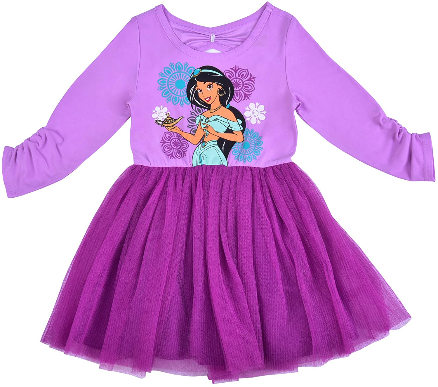 Disney Princess Jasmine Dress for Girls, Long Sleeve with Tulle Skirt for Toddlers