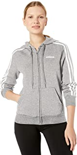 adidas Women's Essentials 3-stripes Fleece Full-zip Hoodie Sweatshirt