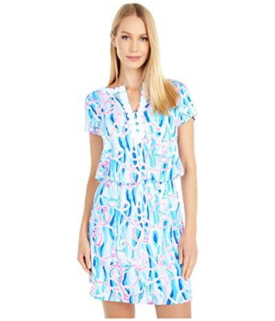 Lilly Pulitzer Reble Skort Romper (Skim Blue Reel Nauti) Women