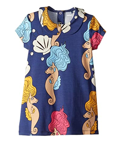 mini rodini Seahorse Collar Short Sleeve Dress (Infant/Toddler/Little Kids/Big Kids) (Navy) Girl