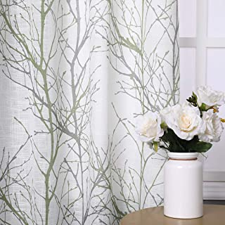 """Green Sheer White Curtains 84"""" for Living Room Grey Tree Branches Print Curtain Set Linen Textured Semi-Sheer Window Drapes for Bedroom Grommet Top, 2 Panels"""