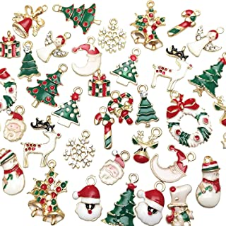 Libiline 38pcs Christmas Pendant Charm for Necklace Bracelet Jewelry Making Clothes Sewing Bags Decoration Charm DIY Scrapbooking Supply(Christmas Styles)