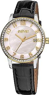 ساعة كوارتز بعرض انالوج وسوار ابيض من الجلد للنساء من اوغست شتاينر - AS8056YG