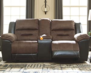 Earhart Faux Leather Manual Double Reclining Loveseat with Storage Console