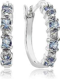 Sterling Silver Genuine Tanzanite Small Hoop Earrings