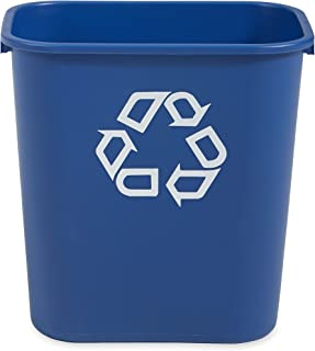 Rubbermaid Commercial Products FG295673BLUE Plastic Resin Deskside Recycling Can, 7 Gallon/28 Quart, Blue Recycling Symbol (Pack of 12)
