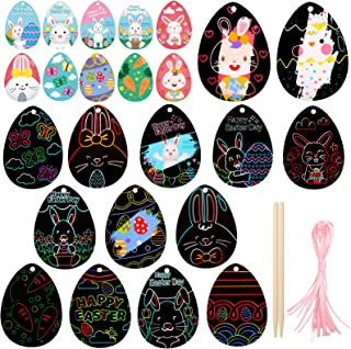 ONEETIS 14Pcs Scratch Paper Easter Ornaments,Rainbow Scratch Art Mini Notes Easter Crafts for Kids to Decorate and Gift