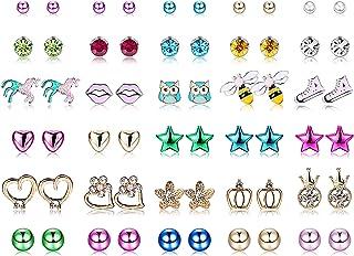 Yadoca 30 Paia Acciaio inossidabile Orecchini per Bambini Mescola Colore Carino Fiore Assortito Palla Rotonda Brillante CZ...