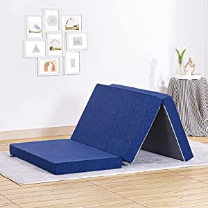 JINGWEI Folding Mattress, Tri-fold Memory Foam Mattress Topper with Washable Cover, 4-Inch, Twin Size, Play Mat, Foldable Bed, Guest beds, Camp Portable Bed, Blue, 38