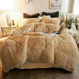 CHENFENG Plush Shaggy Duvet Cover Set Luxury Ultra Soft Crystal Velvet Bedding Sets 2 Pieces(1 Faux Fur Duvet Cover + 1 Faux Fur Pillowcase),Zipper Closure(Twin,Camel)