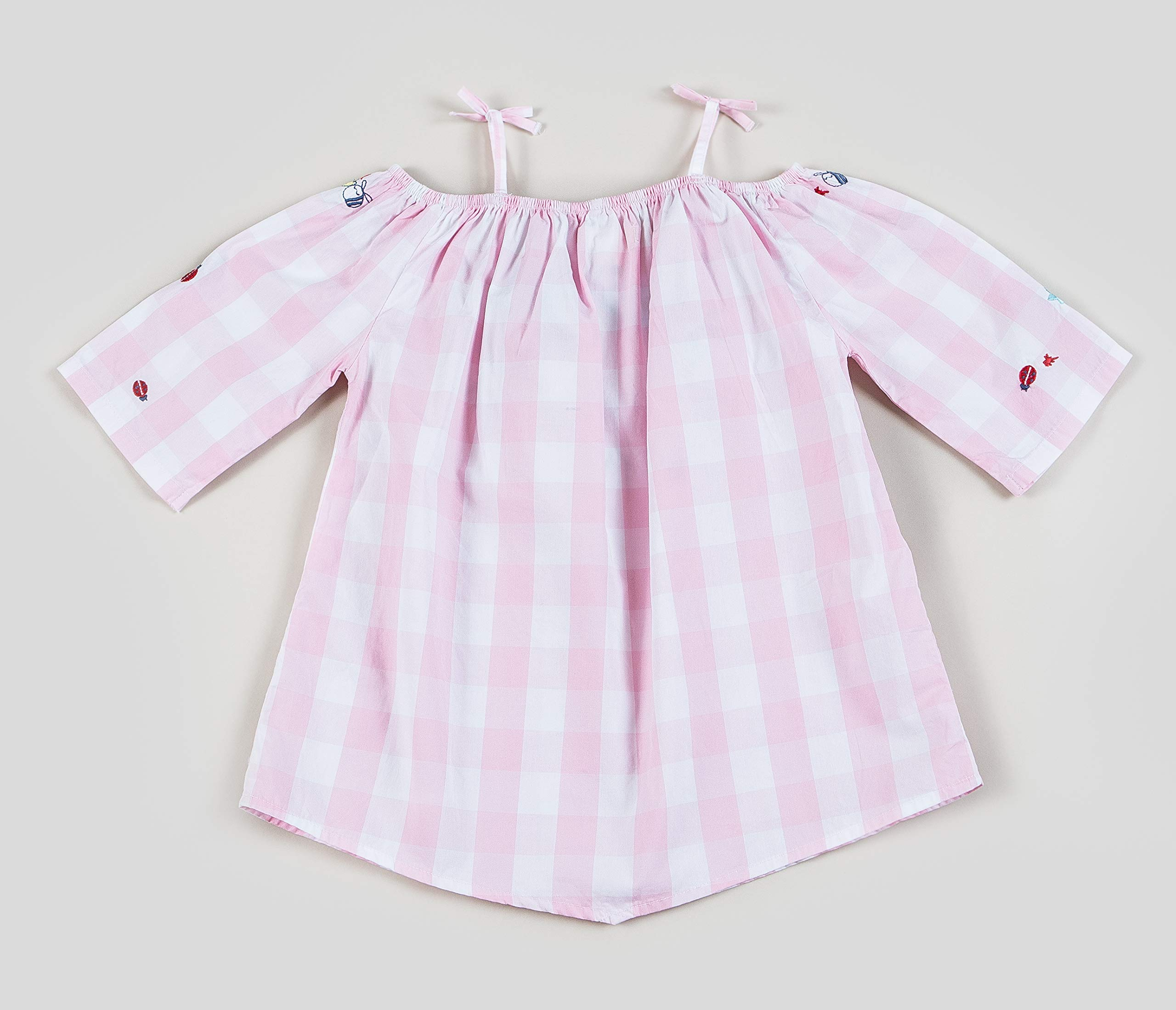 Sizes 2T-3T-4T-5T-6-7 Kinderkind Girls Pink Gingham Off The Shoulder Tunic