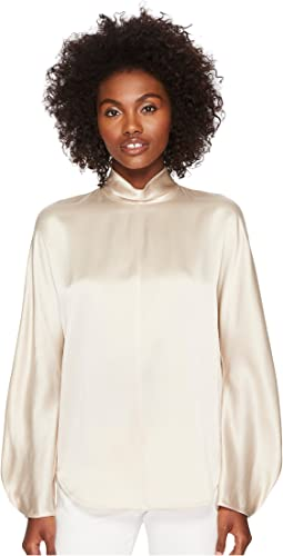 Vince - Band Collar Long Sleeve Blouse