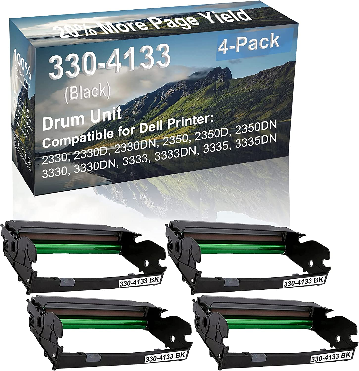 4-Pack Compatible 330-4133 Drum Kit use for Dell 2330, 2330D, 2330DN, 2350 Printer (Black)