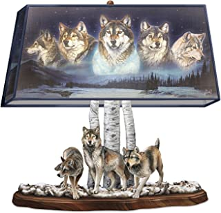Wildlife Lamp With Sculpted Wolves Base and Al Agnew Wolf Art on Fabric Shade by The Bradford Exchange
