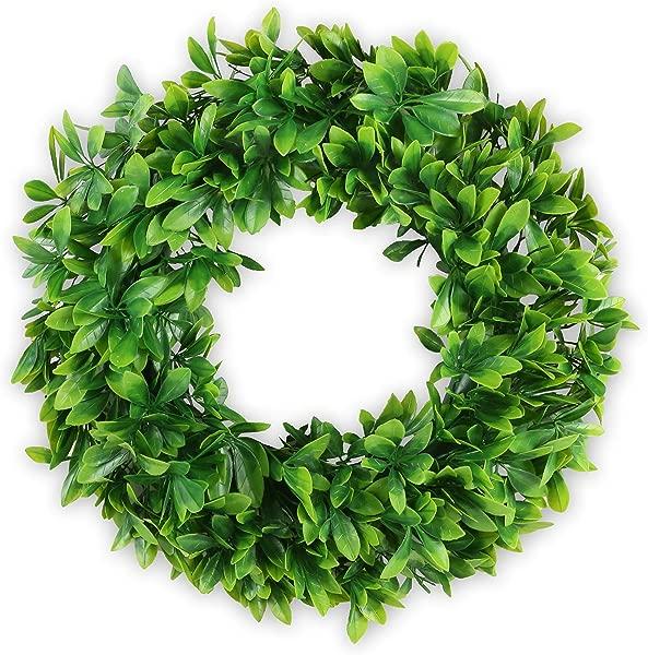 Aonewoe Green Artificial Wreath 17 Front Door Wreath Boxwood Leaves Fake Wreath For Window Home Decor UV Resisatnt Wreath 17