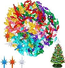 Resnita 200 Pieces Ceramic Christmas Tree Plastic Ornament and 3 Pieces Ceramic Christmas Tree Star Topper (not Include Ceramic Christmas Tree)