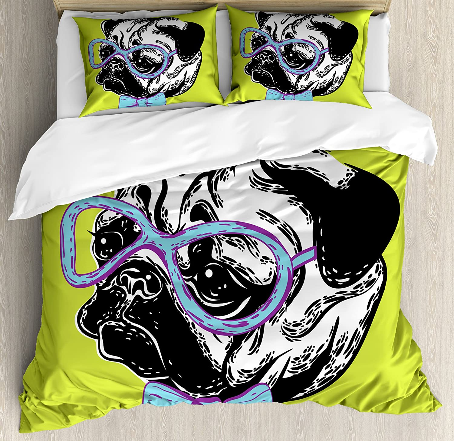 Ambesonne Pug Duvet Cover Set Queen Size, Cute Dog with a Bow Tie and Nerdy Glasses on Green Shade Backdrop, Decorative 3 Piece Bedding Set with 2 Pillow Shams, Apple Green Pale bluee Lavender