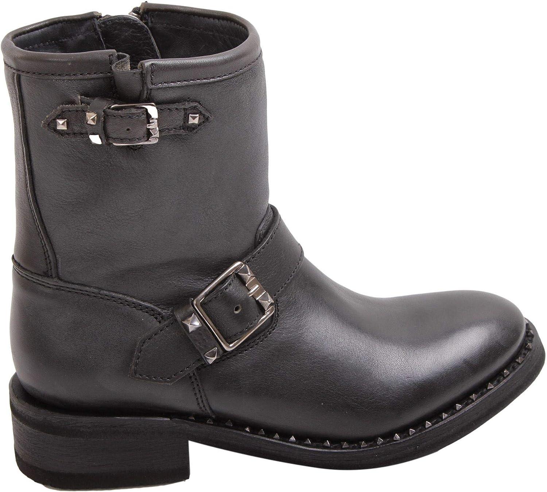 Ash Women's SOHOGUNNBK Black Leather Ankle Boots