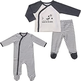 Asher & Olivia Unisex Twin Outfits Footed Pants Set Side Snap Footies Pajamas