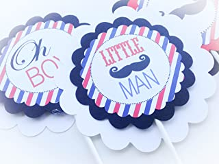 3 Centerpieces or Cake Toppers - Barbershop Baby Shower Collection - Red & Blue Stripes with Black Accents and Mustache Graphics