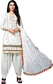 f6419f8417 EthnicJunction Women's Soft Cotton Embroidered Unstitched Dress Material  (EJ1196-Off-White-3004