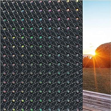 Blackout Privacy Window Film Sun Blocking Glass Film Self Static Heat Control Window Tinting Film for Home Non-Adhesive Anti-