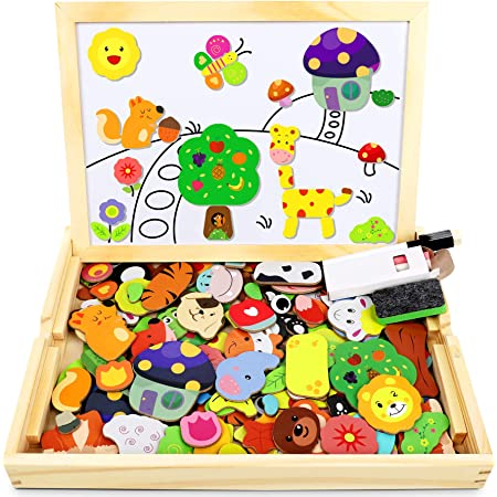 Jojoin 110 pcs Puzzles de Madera Magnética, Juguete Madera con Pizarra Magnética para Dibujo de Doble Cara, Juguete Educativo de Rompecabezas y Dibujo para NIños de 3 4 5 Años (Animales en Bosque)