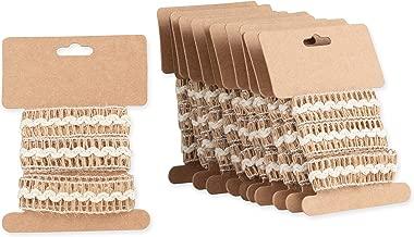 Burlap Ribbon Trim Roll - 12-Pack 1.09-Yard x 0.7 Inch Brown Ribbon Trim for DIY Arts and Crafts, Sewing, Wedding Decorations