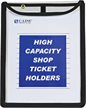 C-Line High Capacity Stitched Shop Ticket Holders, Gusseted with Flap Closure, Both Sides Clear, 1 x 9 x 12 Inches, 15 per Box (39912)