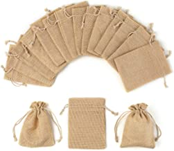 YUXIER Drawstring Bag Burlap Gift Bags Party Favor Bags for Jewelry Wedding Arts Crafts Projects Presents Snacks 5.3x3.7inch (Brown-Pack of 12) -Small Gift bags