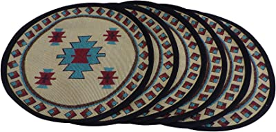 Southwestern Placemats for Dining Table - Round Southwest Place Mats Set of 6 - Southwestern Kitchen Décor Carrizo