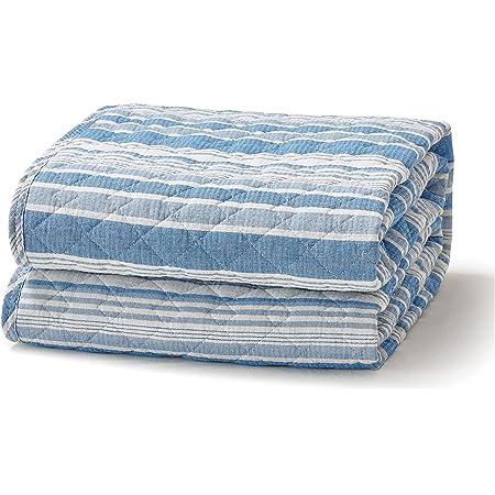 Bedsure 敷きパッド シングル 夏 ベッドパッド 綿100 べっとぱっと 洗える 敷パッド コットン ブルー しじら織り ひんやり 夏用 和風 100×205cm シングルサイズ