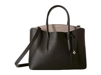 Kate Spade New York Margaux Large Satchel (Black/Warm Taupe) Satchel Handbags