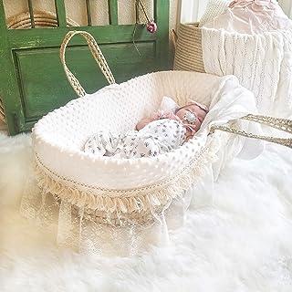 Plush Minky Moses Basket Bedding Set, Natural