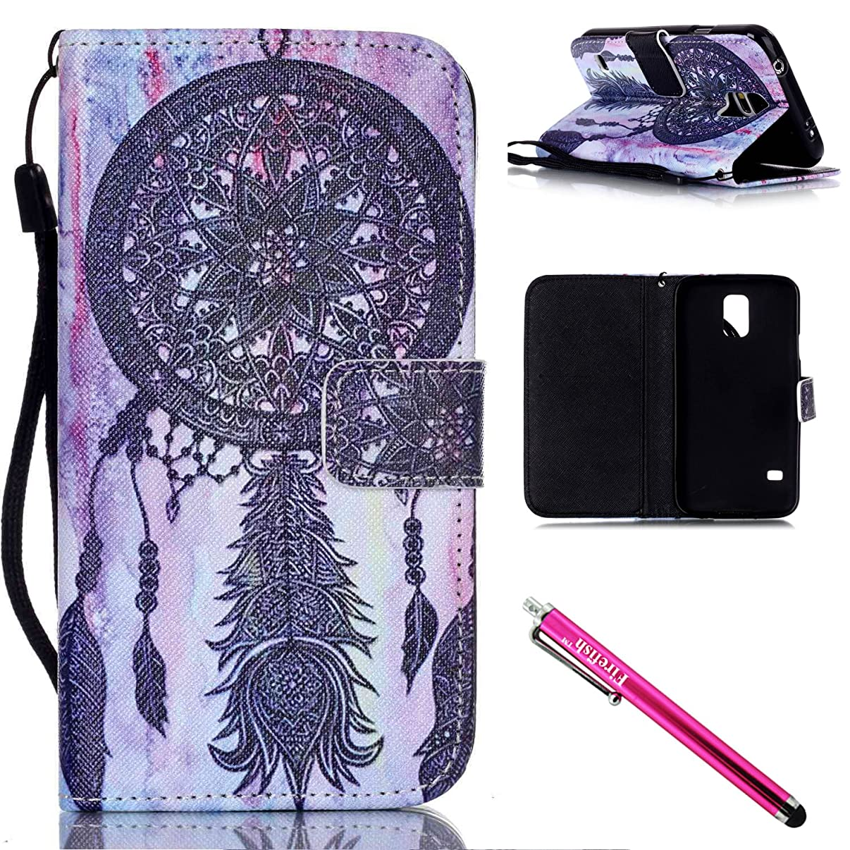 Galaxy S5 mini Case, Firefish [Kickstand] PU Leather Flip Purse Case Slim Bumper Cover with Lanyard Magnetic Skin for Samsung Galaxy S5 mini (SM-G800) + including One Stylus-Blacknet