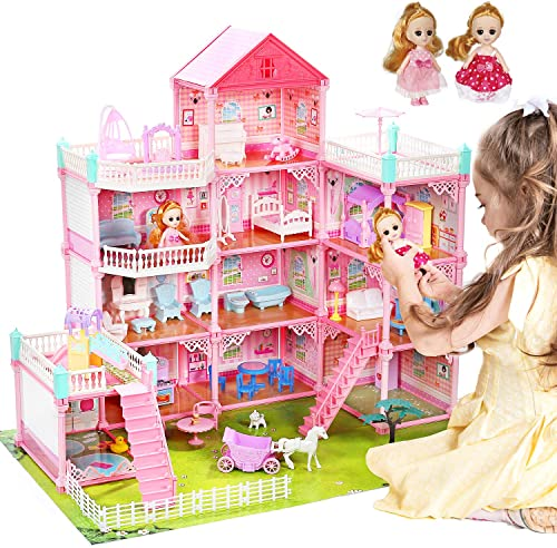 """popular CUTE STONE outlet online sale 11 Rooms Huge Dollhouse with 2 Dolls and Colorful Light, 31"""" x 28"""" x 27"""" Dream House Doll House new arrival Dreamhouse Gift for Girls sale"""