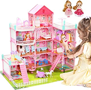 """CUTE STONE Huge Dollhouse with Colorful Light, Doll Dream House Includes 2 Dolls, 32"""" x 28"""" Dreamhouse with 11 Rooms and Furniture, Doll Accessories, Gift for Girls and Toddlers"""
