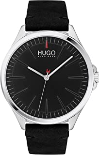 HUGO by Hugo Boss Men's #Smash Stainless Steel Quartz Watch with Leather Calfskin Strap, Black, 20 (Model: 1530133)