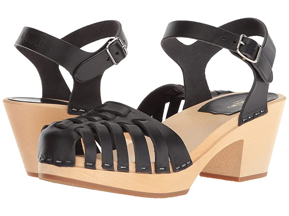 Swedish Hasbeens Snake Sandal High (Black) High Heels