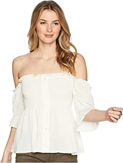 Off Shoulder Button Down Top with Smocking